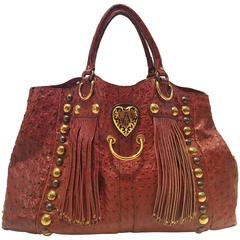 Gucci Babouska Red Ostrich Bag