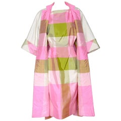 Plaid Silk Cocktail Dress and Reversible Coat