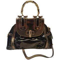 1990s Gucci Bamboo black metallic silver bag