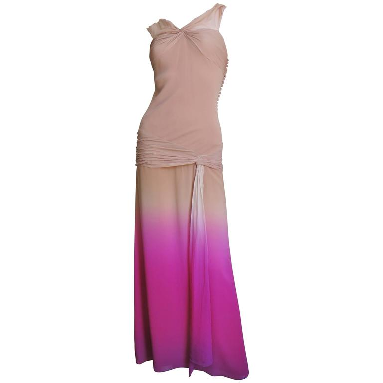 Christian Dior Nude To Pink Ombre Silk Gown