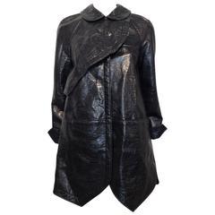 Balenciaga Black Shiny Textured Coat Size 36 (4)