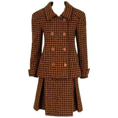 1968 Christian Dior Haute-Couture Plaid Wool Double-Breasted Mod Skirt Suit