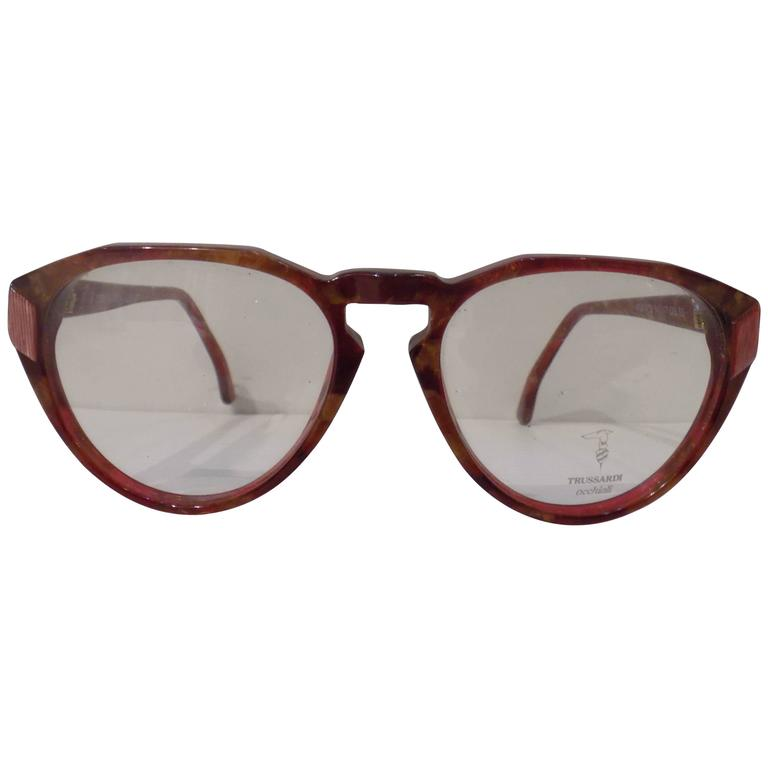 1990s Trussardi brown glasses frame For Sale