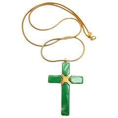 1975  Givenchy Jade Green Cross Necklace