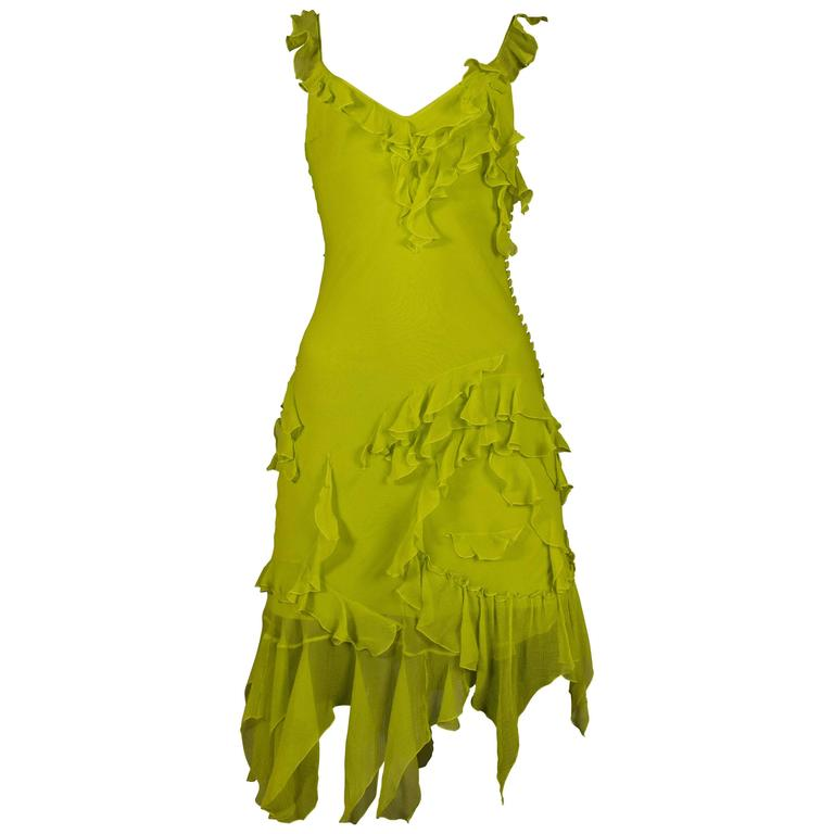 Christian Dior by John Galliano silk chiffon evening mini dress, circa 1990s For Sale