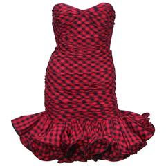 Fun & Flirty Emanuel Ungaro 1980's Plaid Strapless Dress