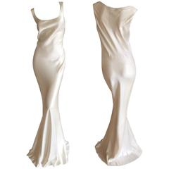 John Galliano Vintage 1990's Bias Cut Ivory / Pearl Evening Dress