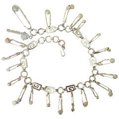 Versace Vintage Gold Tone Safety Pin Belt