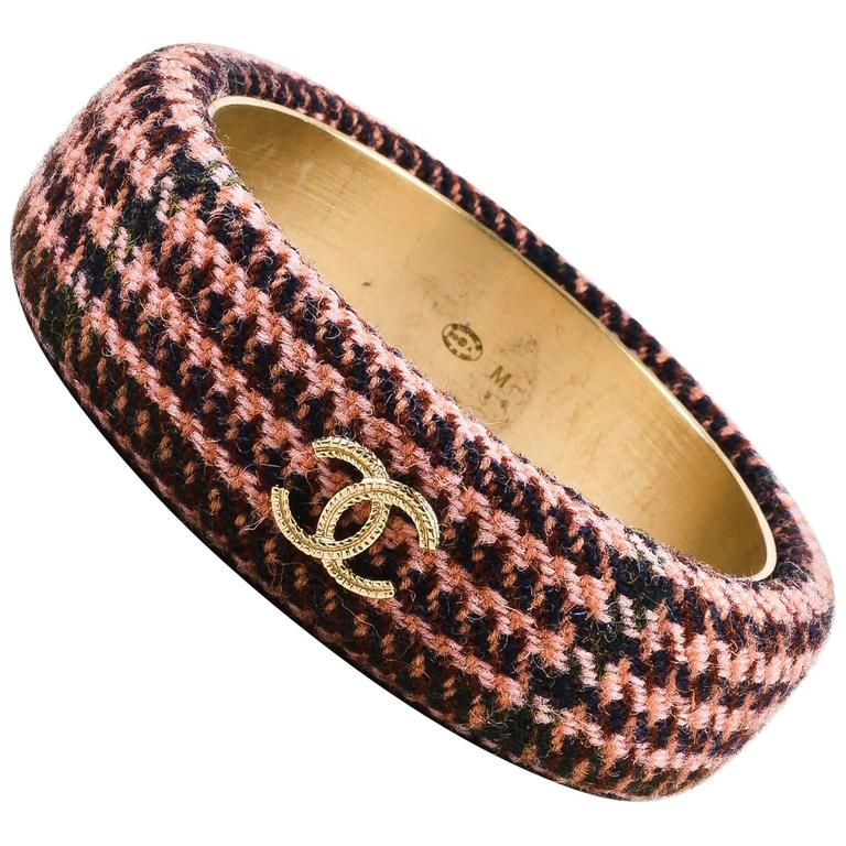 Chanel Fall Collection Pink Brown Tweed Gold Tone 'CC' Bangle Bracelet SZ M 1