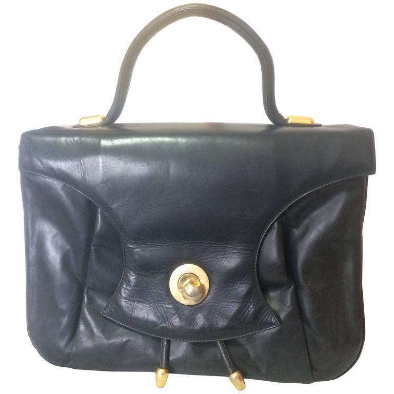 Vintage Bally black leather retro pop design bag, business purse. Unisex.