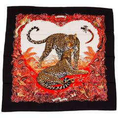 "Hermès Cashmere 55"" Black Jungle Love Shawl"