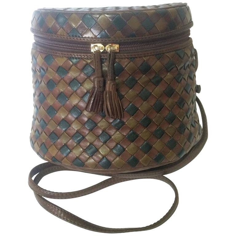 Vintage Bottega Veneta brown, khaki, dark green intrecciato lunchbox shape bag. For Sale