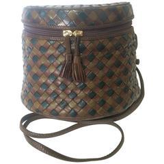 Vintage Bottega Veneta brown, khaki, dark green intrecciato lunchbox shape bag.