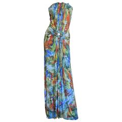 Jean Paul Gaultier Silk Ruched Circle Cutout Strapless Maxi