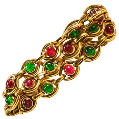 Vintage Chanel Gold Tone Pink Green Gripoix Stone Multi Strand Link Bracelet