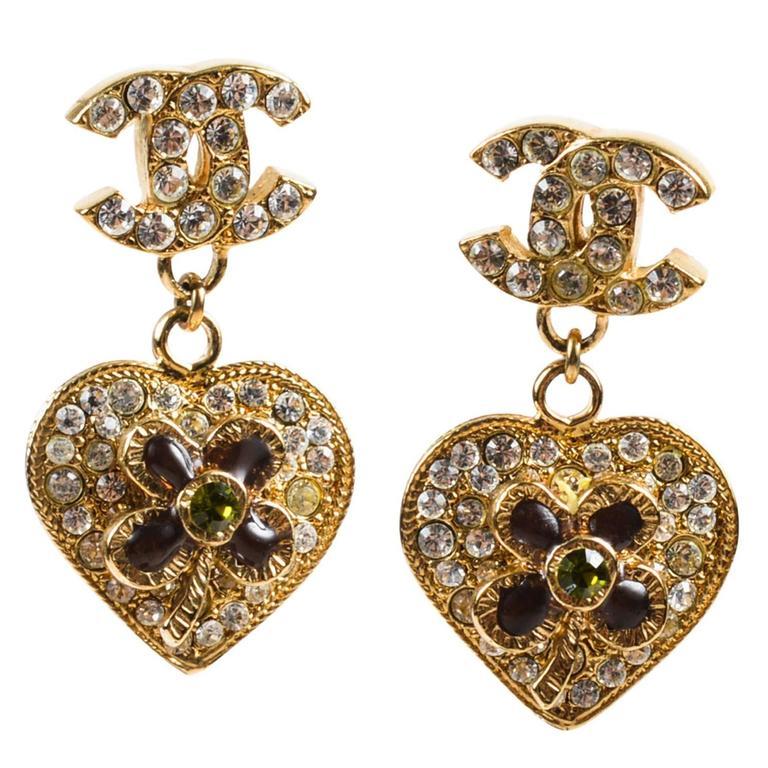 Chanel 05P Gold Tone & Green Crystal & Gripoix Heart & Clover 'CC' Drop Earrings 1