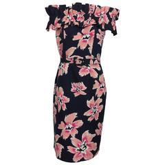 Christian Dior navy and pink floral silk ruched shoulder dress