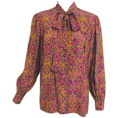 Vintage Yves Saint Laurent YSL Moorish silk print blouse 1970s