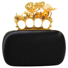 Alexander McQueen Black Satin Gold Tone Crystal Butterfly Knuckle Clutch