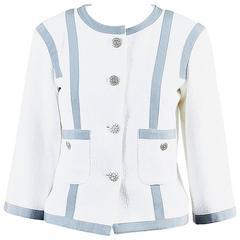 Chanel Gray & White Cotton & Silk Boucle Starred 'CC' Button Jacket SZ 40