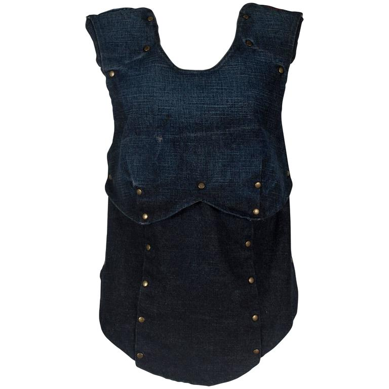 A.F. Vandevorst backless armour vest in distressed indigo denim, circa 200