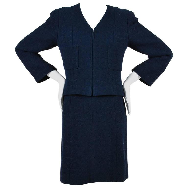 Chanel Navy Blue Boucle Tweed Zip Long Sleeve Jacket A Line Skirt ...