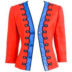 Vintage Givenchy Nouvelle Boutique Red Blue Embroidered Stud LS Jacket