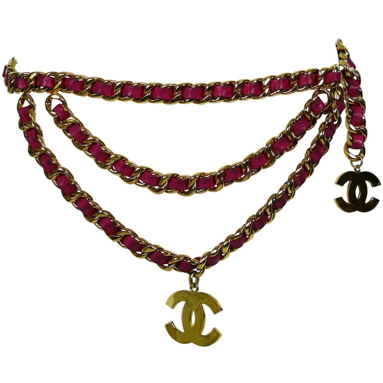 Chanel Vintage Iconic Gold Tone Belt with Fuschia Leather and Large CC Logos 1
