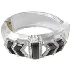 Vintage Lucite Faux Onyx & Rhinestone Cuff Bracelet