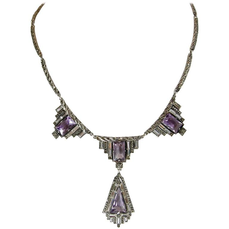 Vintage 1920s Amethyst & Marcasite Sterling Silver German Necklace 1