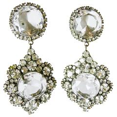 Vintage 1960's K.J.L Crystal Drop Earrings