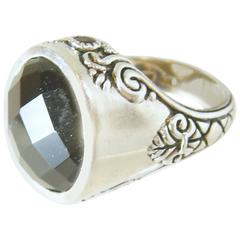 "Vintage Signed ""Barse"" Large Faceted Amethyst Sterling Silver Ring"