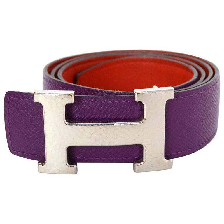 hermes purple and orange leather reversible h belt kit sz