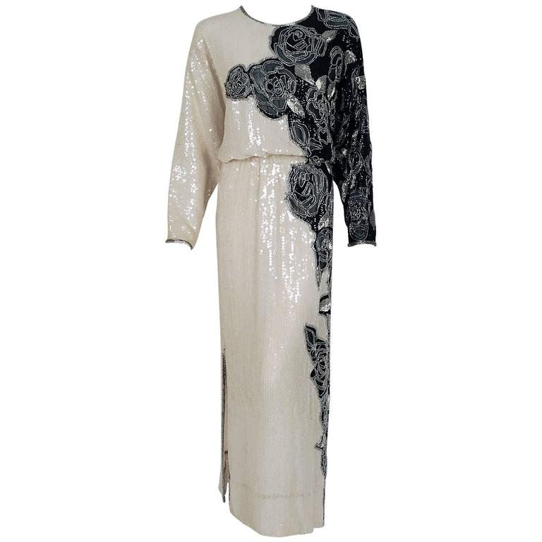 1977 Halston Black & White Beaded Sequin Rose-Garden Silk Dolman Sleeve Gown