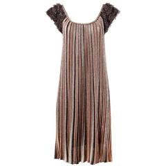 Missoni Metallic Striped Knit Trapeze Dress with Shaggy Fringe Cap Sleeves