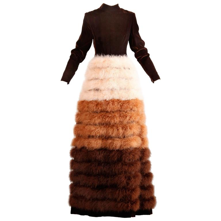 Museum Quality Geoffrey Beene 1960s Vintage Velvet Marabou Feather Dress or Gown 1