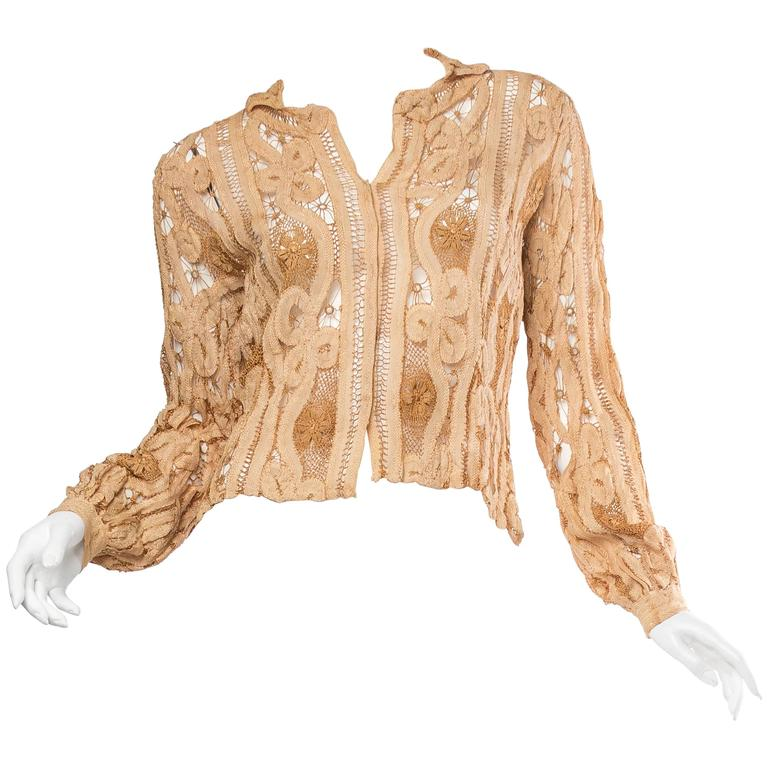 Antique Handmade Lace Blouse For Sale