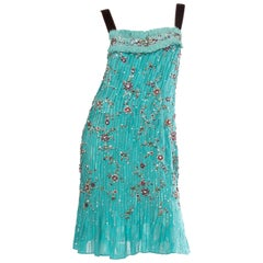 2000S CAROLINA HERRERA Turquoise Silk Burnout Chiffon Pleated Flapper Style Coc