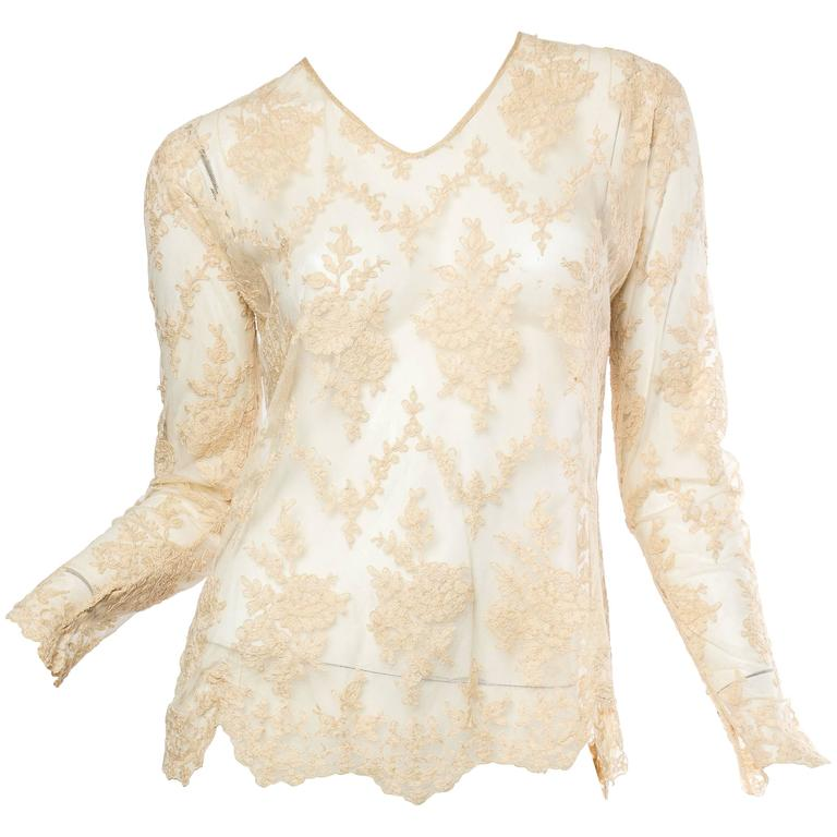 1920s Sheer Lace Blouse