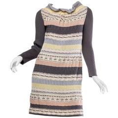 1990S MISSONI Grey & Peach Wool/Silk Sweater Dress With Silk Slip