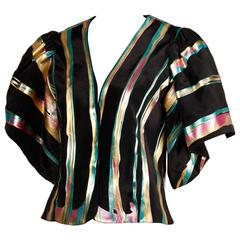 Vintage Hand Painted Metallic Grossgrain Jacket with Puff Sleeves