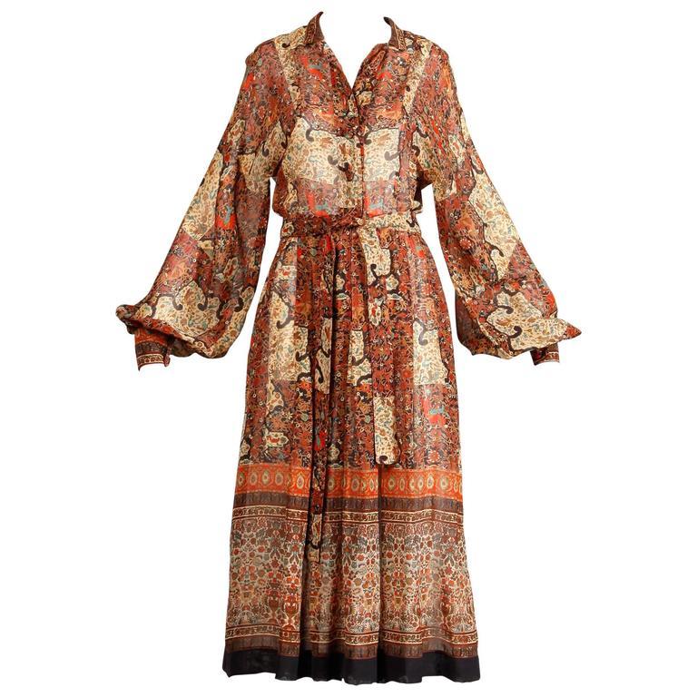 1970s Vintage Jean Varon Indian Paisley Print Dress with Balloon Sleeves 1