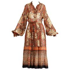 1970s Vintage Jean Varon Indian Paisley Print Dress with Balloon Sleeves