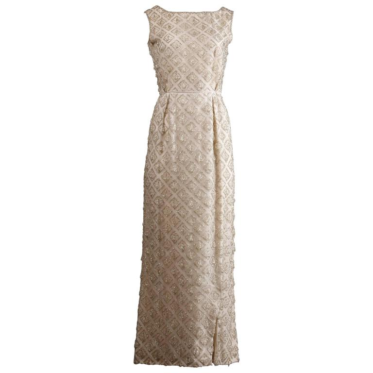 Vintage Heavily Beaded Silk Long Formal Dress or Gown, 1960s For ...