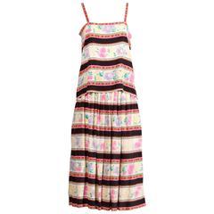 1970s Oscar de la Renta Vintage 2-Piece Silk Tank Top + Skirt Dress Ensemble