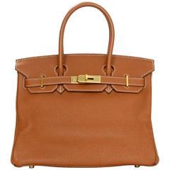 Hermes Tan/Gold Togo Leather 30cm Birkin Bag GHW