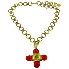 Christian Lacroix Vintage Cross Pendant Necklace