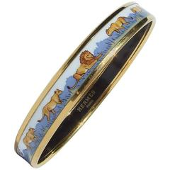 Hermes Printed Enamel Bracelet Lions and Lionesses Narrow Gold Hdw Size PM 65