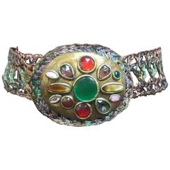 Artisan Glass Stone Buckle Woven Metal Belt c 1980s