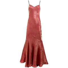 John Galliano Vintage rose pink and gold silk jacquard bias cut gown, 1990s